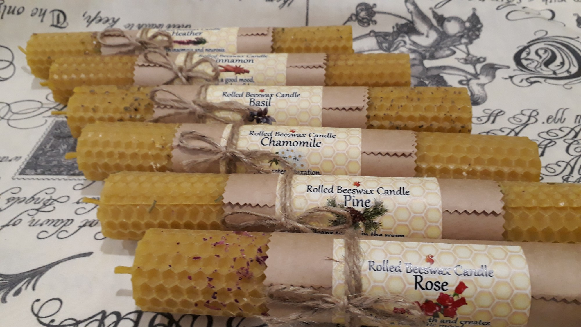 Rolled Beeswax Candles with herbs